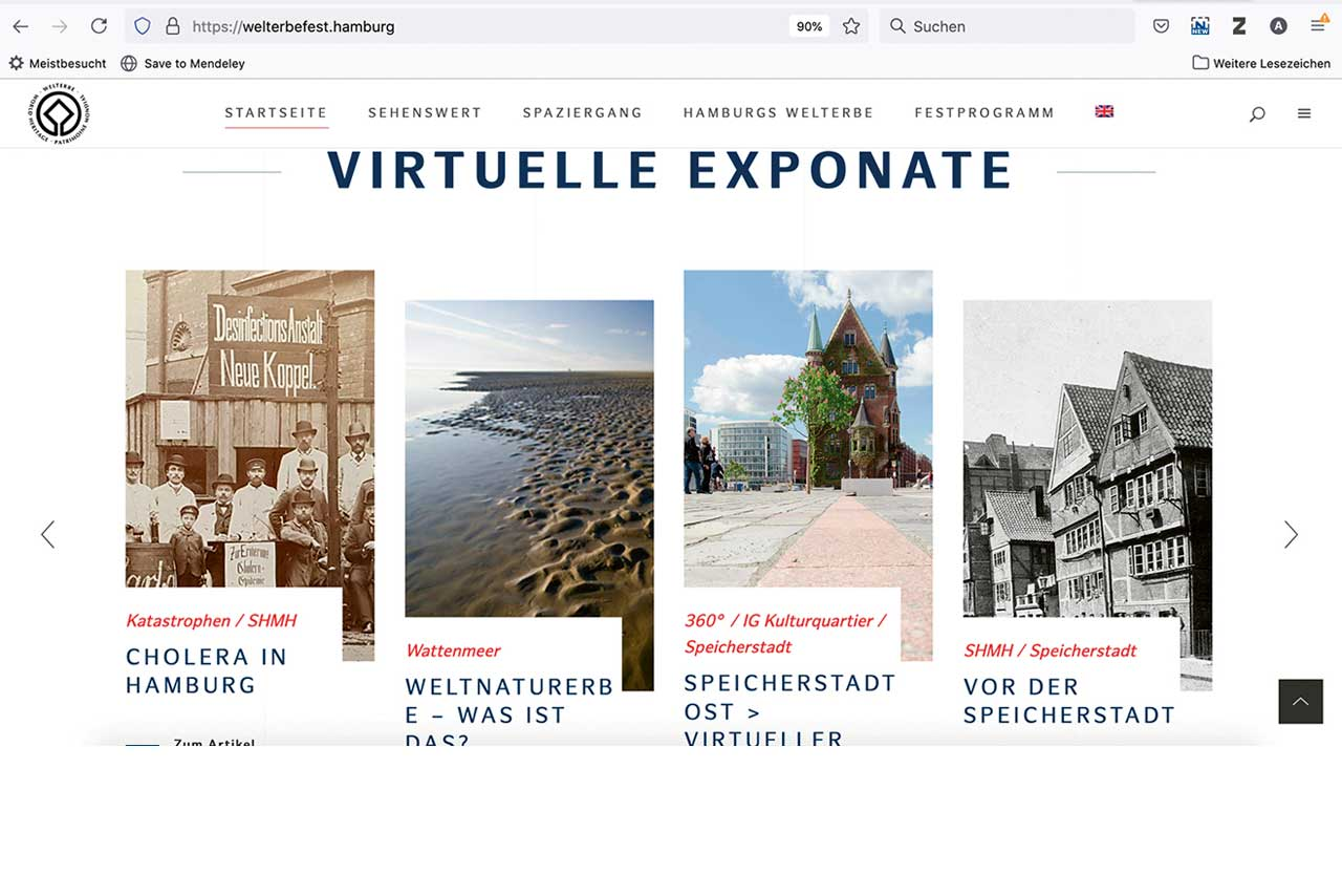 Screenshot der Website https://welterbefest.hamburg